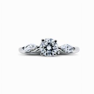Brilliant & Marquise Cut Diamond Platinum Engagement Ring - 0.92ct